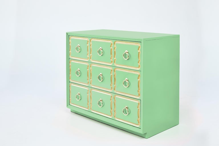 American Authentic Dorothy Draper Espana Chest in Neo Mint For Sale