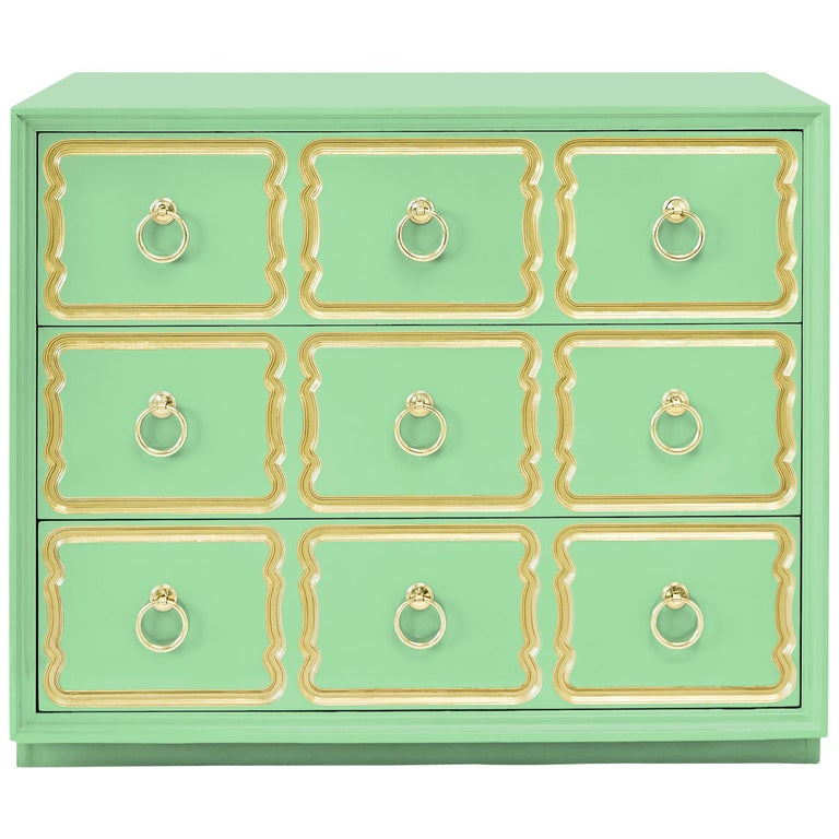 Authentic Dorothy Draper Espana Chest in Neo Mint For Sale