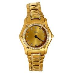 Authentic Ebel 1911 Gold Dial Diamonds Watch 18 Karat