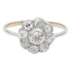 Authentic Edwardian Diamond Cluster Ring 18 Karat Gold Platinum
