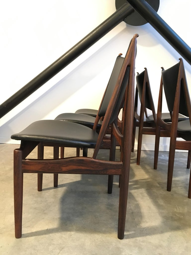 Authentic Egyptian chairs by Finn Juhl for Niels Vodder in rosewood and leather. Beautiful restored condition with some repairs.