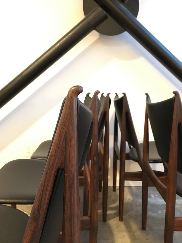 Danish Authentic Finn Juhl Egyptian Chairs for Niels Vodder in Rosewood, Set of Six For Sale