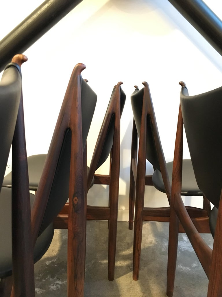 Authentic Finn Juhl Egyptian Chairs for Niels Vodder in Rosewood, Set of Six In Good Condition For Sale In Victoria, BC