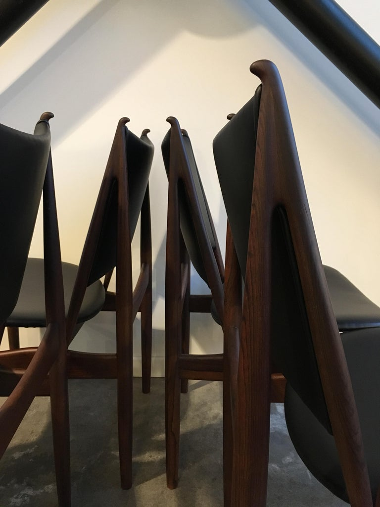 20th Century Authentic Finn Juhl Egyptian Chairs for Niels Vodder in Rosewood, Set of Six For Sale