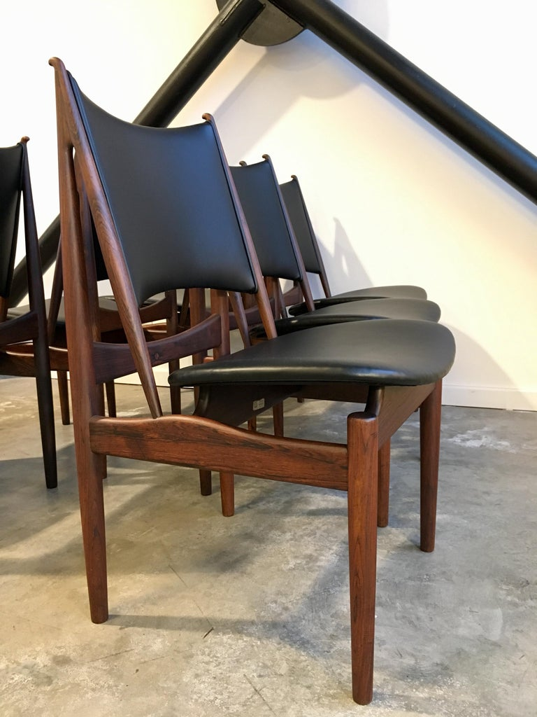 Leather Authentic Finn Juhl Egyptian Chairs for Niels Vodder in Rosewood, Set of Six For Sale