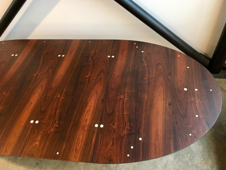 Scandinavian Modern Authentic Finn Juhl Judas Dining Table in Rosewood and Silver For Sale