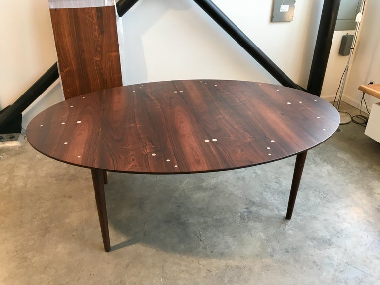 20th Century Authentic Finn Juhl Judas Dining Table in Rosewood and Silver For Sale