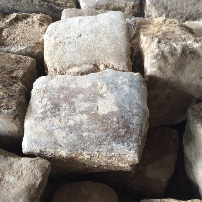 Limestone Authentic French Antique Cobble Stone from France, 17th Century For Sale