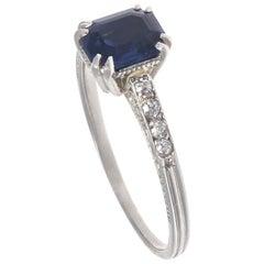 Authentic French Art Deco Sapphire Old European Cut Diamonds Platinum Ring