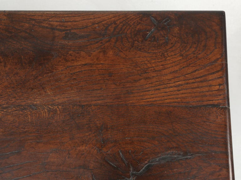 Authentic French Bistro Table in Thick White Oak with a Great Patina In Good Condition For Sale In Chicago, IL