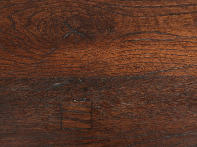 Mid-20th Century Authentic French Bistro Table in Thick White Oak with a Great Patina For Sale