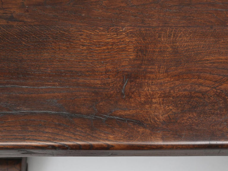 Authentic French Bistro Table in Thick White Oak with a Great Patina For Sale 1