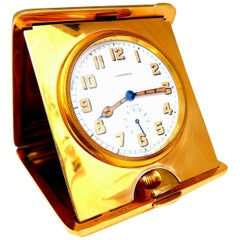 Authentic Gorham for Longines Travel Clock 14 Karat Folding 8 Day Power Reserve