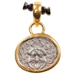Authentic Greek Apollonia Pontika AR Drachm Coin & 22-Karat Gold Custom Pendant