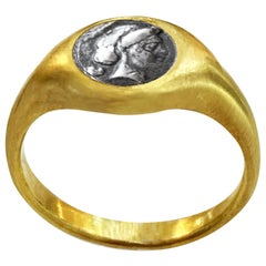 Authentic Greek Coin '4th Century B.C.' Gold Ring Depicting the Head of Venus