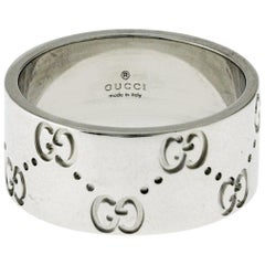 Authentic Gucci Icon Logo 18 Karat White Gold Wide Band Ring