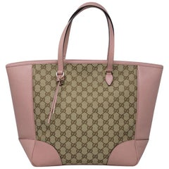 Authentic Gucci Monogram and Pink Leather Large Tote Bag in Dust Bag
