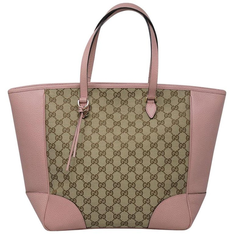 8ecf37a0aa3093 Authentic Gucci Monogram and Pink Leather Large Tote Bag in Dust Bag For  Sale
