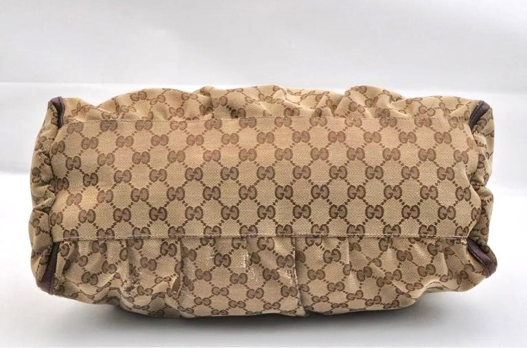 Authentic GUCCI Shoulder Hand Bag GG Canvas Leather Brown Beige like  Brand New For Sale 9