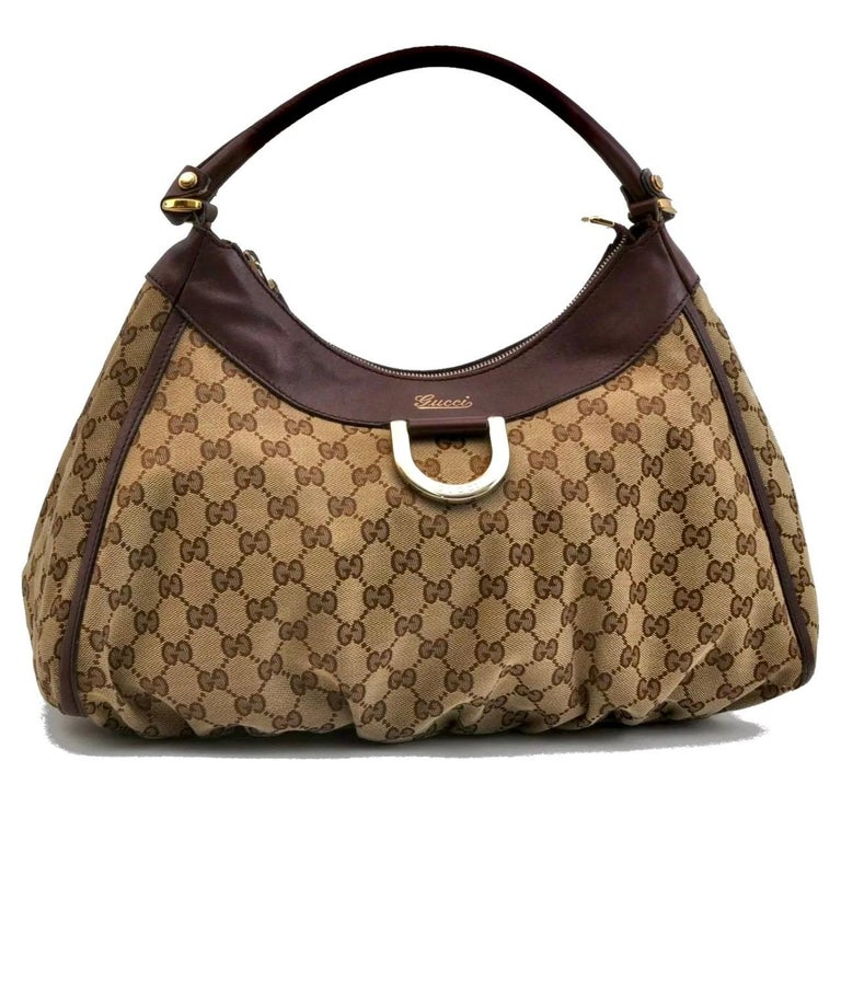 Authentic GUCCI Shoulder Hand Bag GG Canvas Leather Brown Beige like  Brand New For Sale 10
