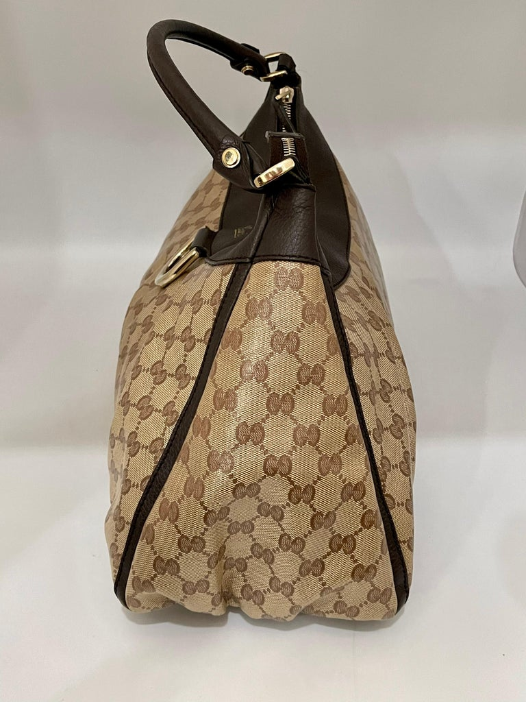 Authentic GUCCI Shoulder Hand Bag GG Canvas Leather Brown Beige like  Brand New In Excellent Condition For Sale In New York, NY