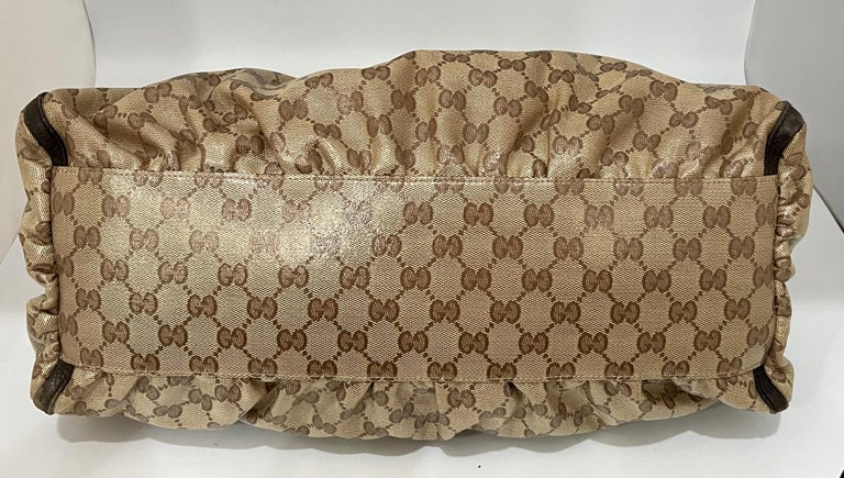Women's Authentic GUCCI Shoulder Hand Bag GG Canvas Leather Brown Beige like  Brand New For Sale