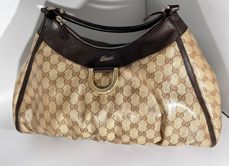 Authentic GUCCI Shoulder Hand Bag GG Canvas Leather Brown Beige like  Brand New For Sale 1