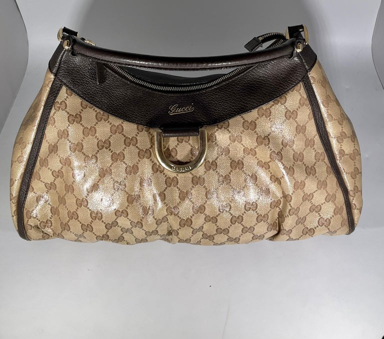 Authentic GUCCI Shoulder Hand Bag GG Canvas Leather Brown Beige like  Brand New For Sale 2
