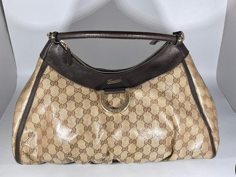Authentic GUCCI Shoulder Hand Bag GG Canvas Leather Brown Beige like  Brand New For Sale 3
