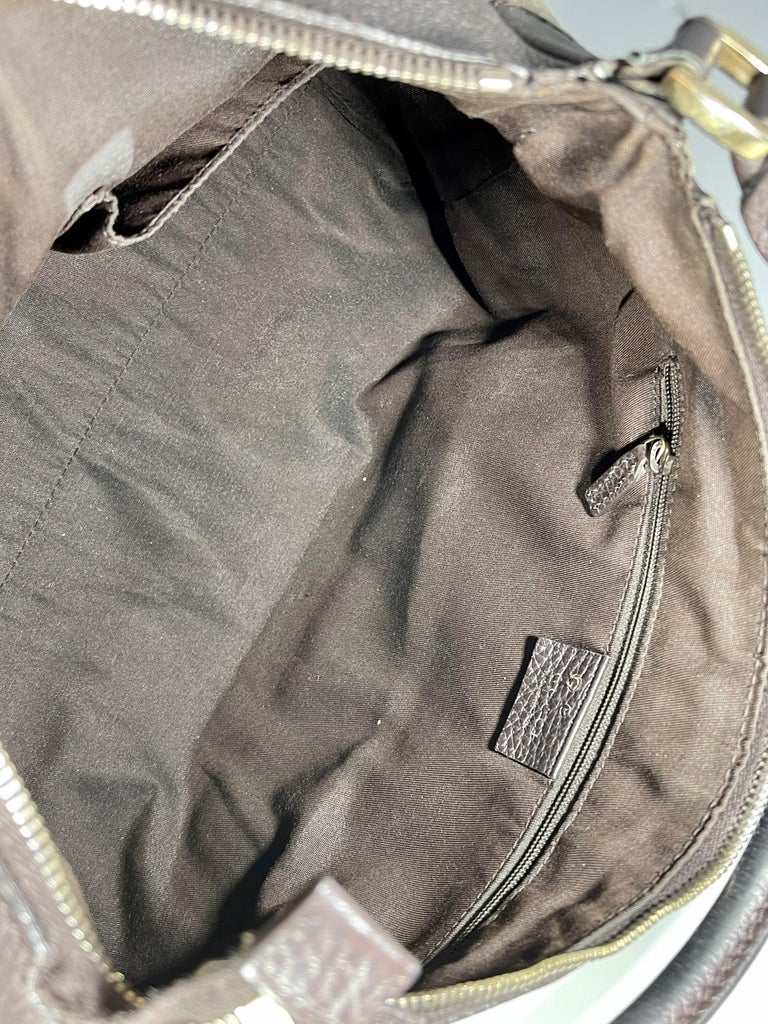 Authentic GUCCI Shoulder Hand Bag GG Canvas Leather Brown Beige like  Brand New For Sale 5