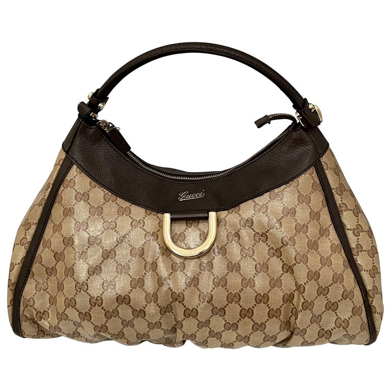 Authentic GUCCI Shoulder Hand Bag GG Canvas Leather Brown Beige like  Brand New For Sale