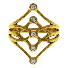 "Authentic Gurhan ""Delicate"" 22 Karat Yellow Gold Diamond Ring"
