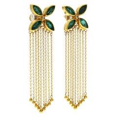 "Authentic Gurhan ""Tassel"" 24 Karat Yellow Gold, Diamond and Emerald Earrings"