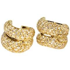 Authentic H. Stern 18 Karat Yellow Gold Diamond Huggies Earrings