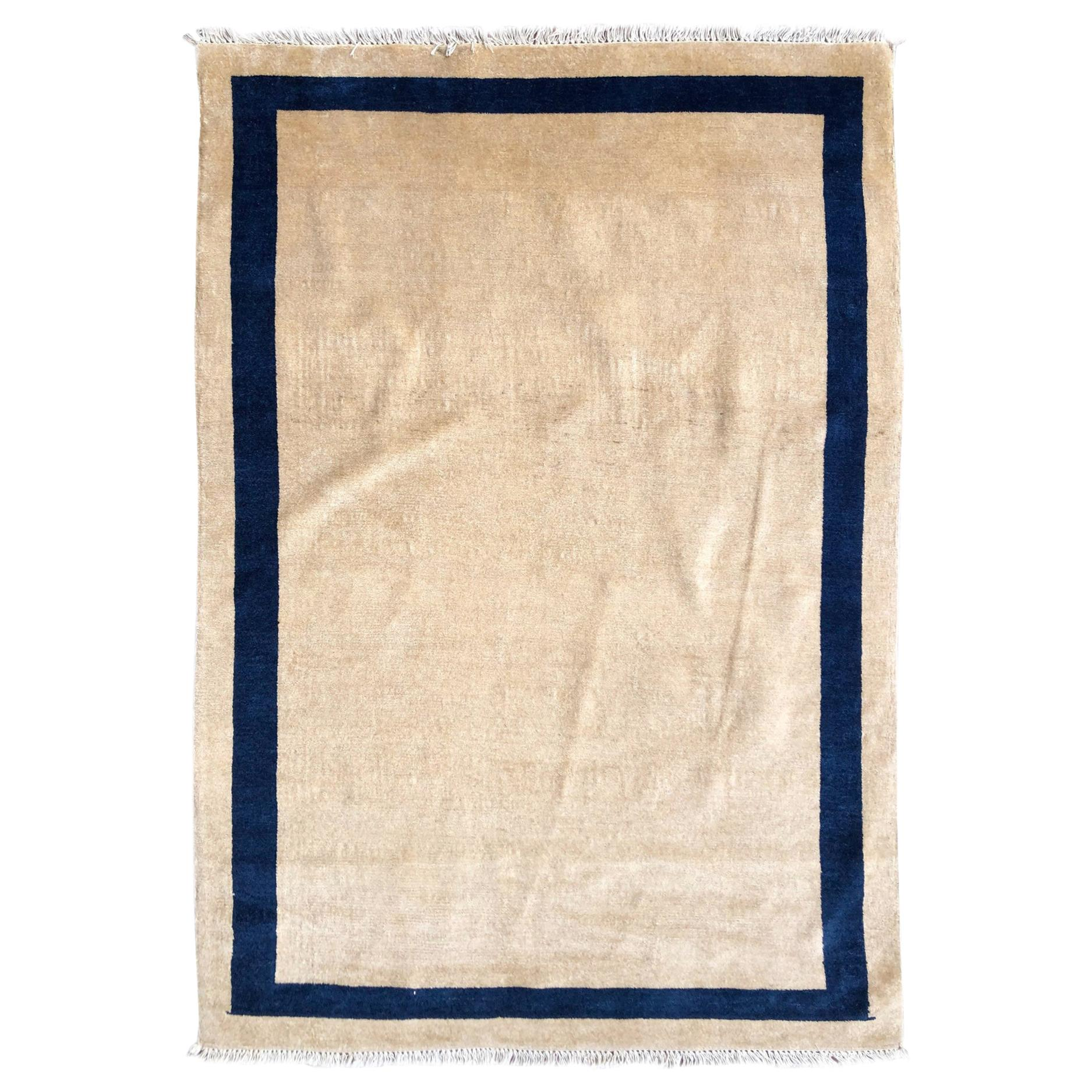 Authentic Hand Knotted Blue Cream Plain Chinese Rug, circa 1940