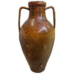 Authentische Handgefertigte Braune Keramik-Vase oder Wasserkrug, circa 1930