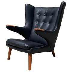 "Authentic Hans Wegner ""Papa Bear"" Lounge Chair in Black Leather"