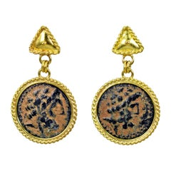Authentic Hellenistic Bronze Coin 22 Karat Gold Stud Dangle Earrings