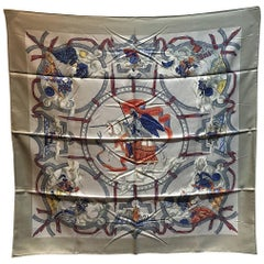 Authentic Hermes Cavaliers Des Nuages Silk Scarf In Gray