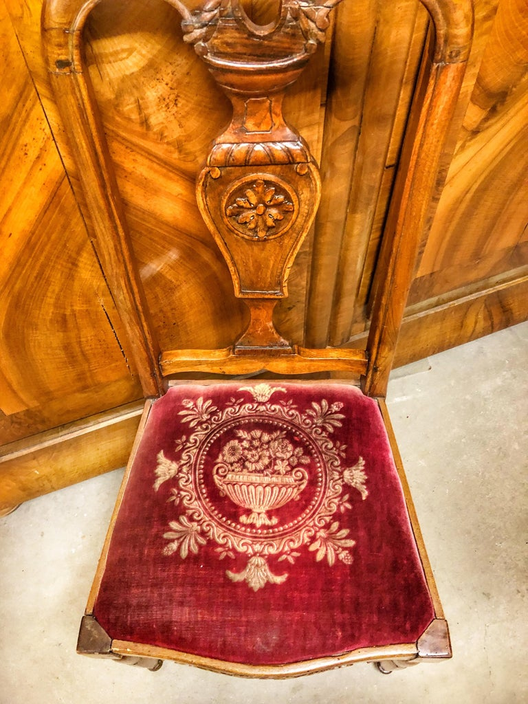 Authentic high back carved walnut wood side chair velvet seat, France, 19th century.