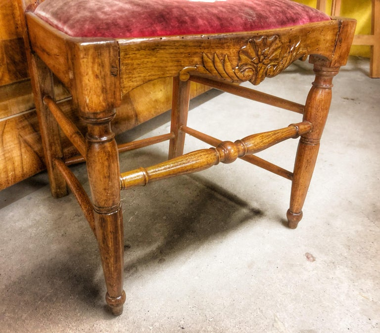 French Authentic High Back Carved Walnut Wood Side Chair Velvet Seat, France For Sale