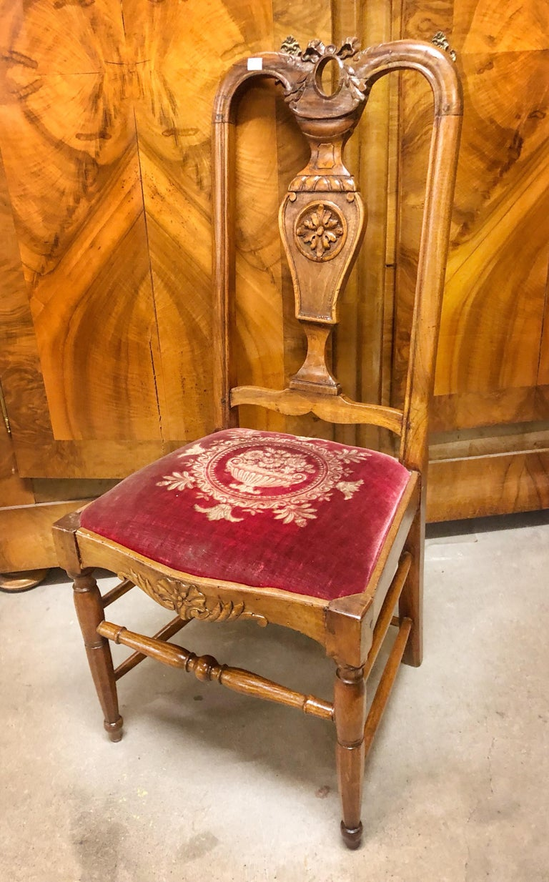 Authentic High Back Carved Walnut Wood Side Chair Velvet Seat, France For Sale 1