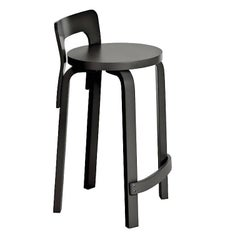 Authentic High Chair K65 in Birch with Black Lacquer by Alvar Aalto & Artek