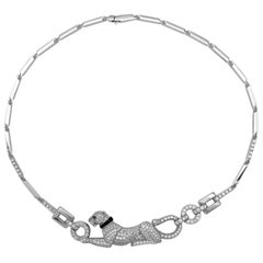 Authentic High Jewelry Cartier Panthère White Gold Long Necklace