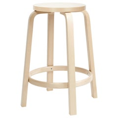 Authentic High Stool 64 Counter Stool in White HPL and Birch by Alvar Aalto
