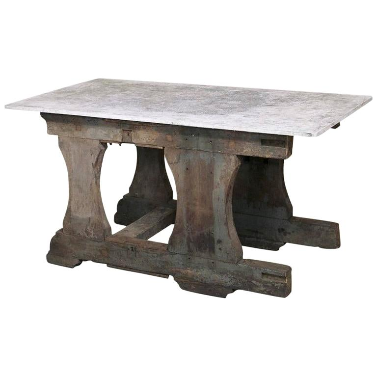 Authentic Industrial Work Table with Composite Concrete Top