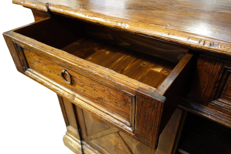 18th Century Style Italian Old Chestnut 2 Door Credenza Sideboard with 2 Drawers For Sale 4
