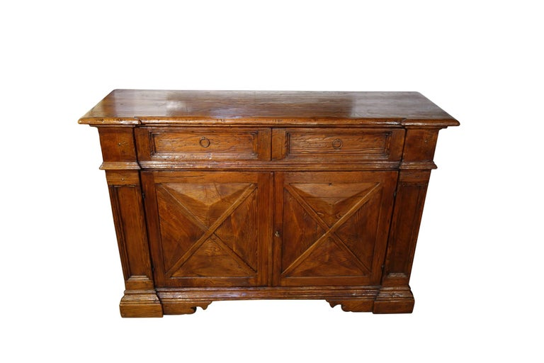 Baroque 18th Century Style Italian Old Chestnut 2 Door Credenza Sideboard with 2 Drawers For Sale