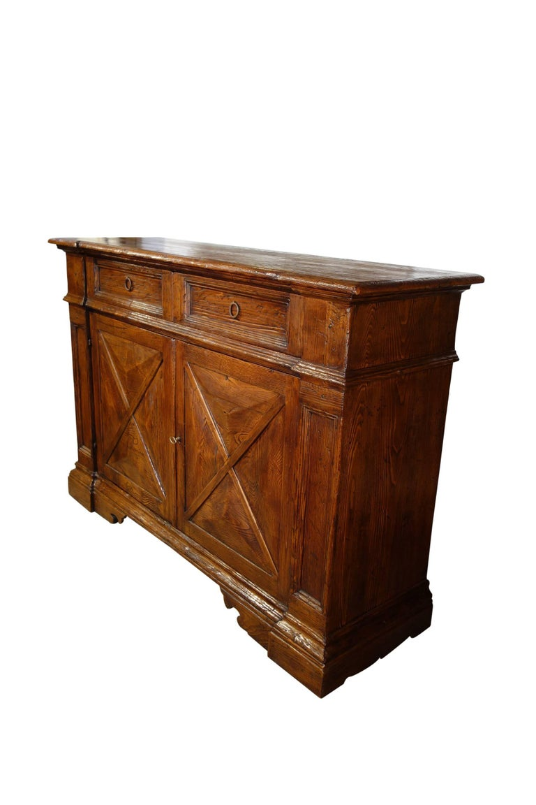 Forged 18th Century Style Italian Old Chestnut 2 Door Credenza Sideboard with 2 Drawers For Sale