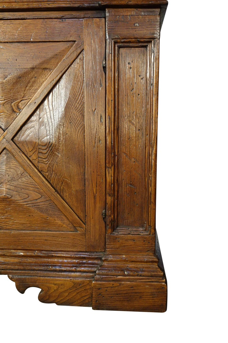 Contemporary 18th Century Style Italian Old Chestnut 2 Door Credenza Sideboard with 2 Drawers For Sale